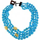 Four strand Turquoise Necklace with Gold and Amber